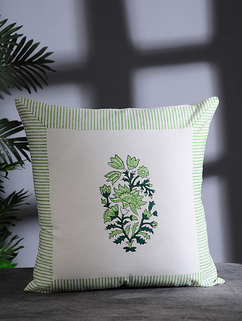 White and Green Hand Block-printed Cotton Cushion Cover (16in x 16in)
