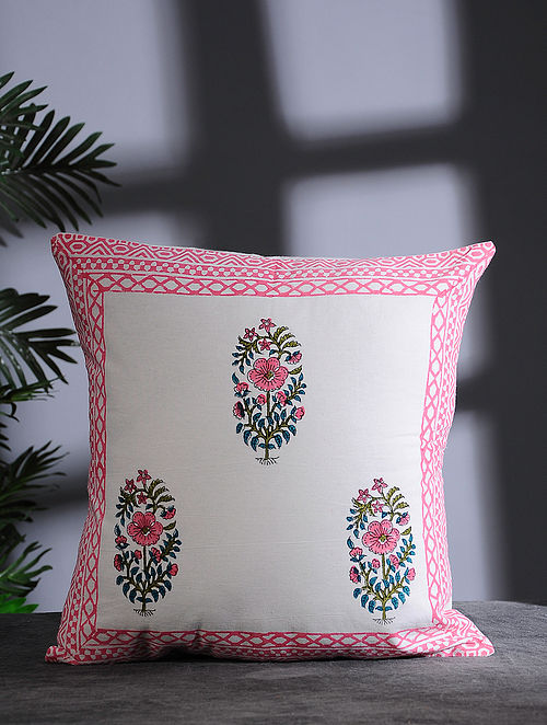 Pink-Multicolor Hand Block-printed Cotton Cushion Cover (16in x 16in)