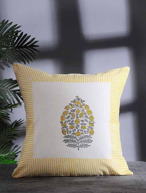 Yellow-Multicolor Hand Block-printed Cotton Cushion Cover (16in x 16in)