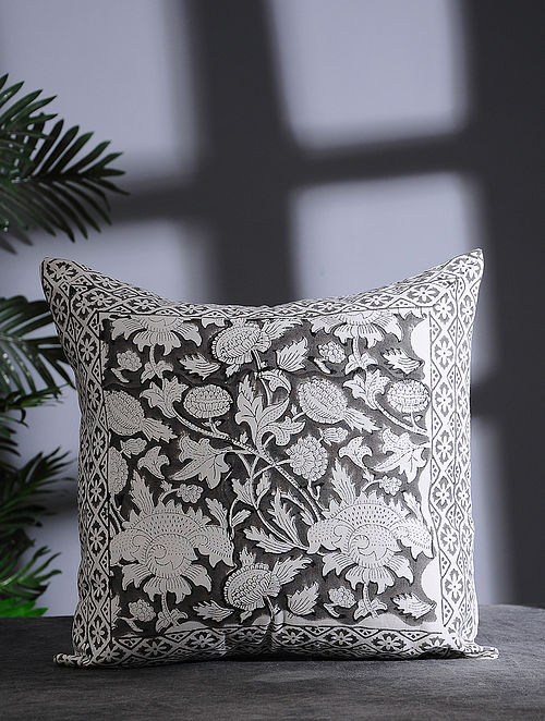 White and Grey Hand Block-printed Cotton Cushion Cover (16in x 16in)
