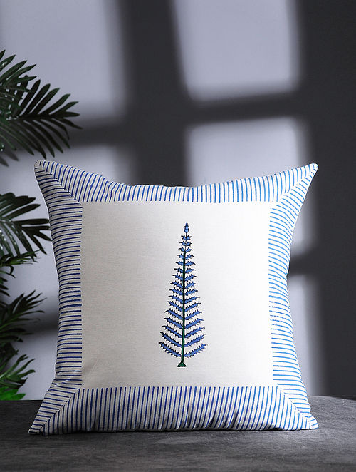Blue-Multicolor Hand Block-printed Cotton Cushion Cover (16in x 16in)