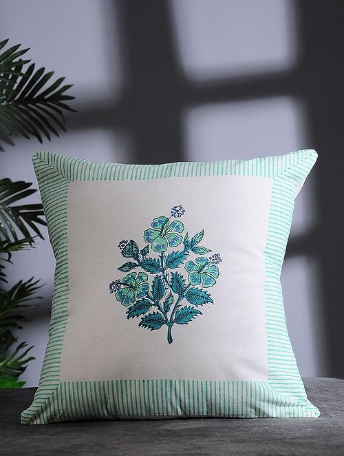 Green and White Hand Block-printed Cotton Cushion Cover (16in x 16in)