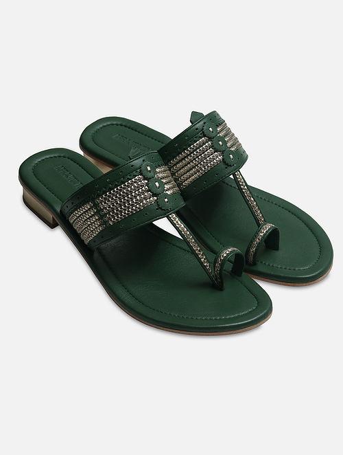 Green Handcrafted Box Heels