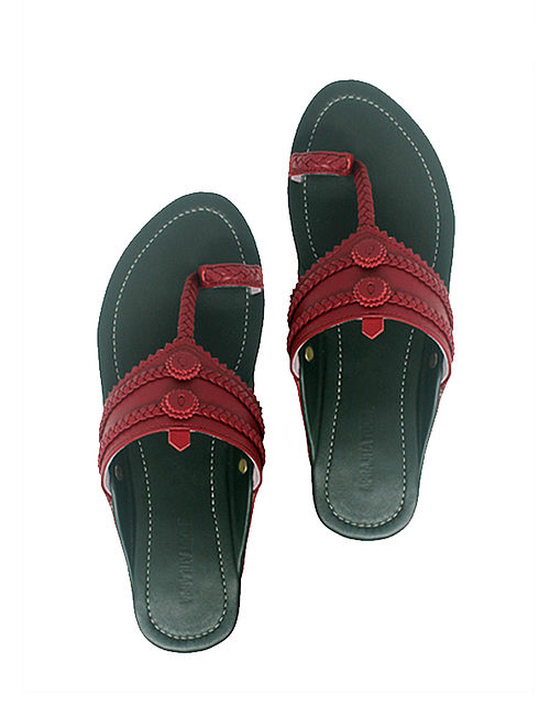 Green-Maroon Handcrafted Leather Flats