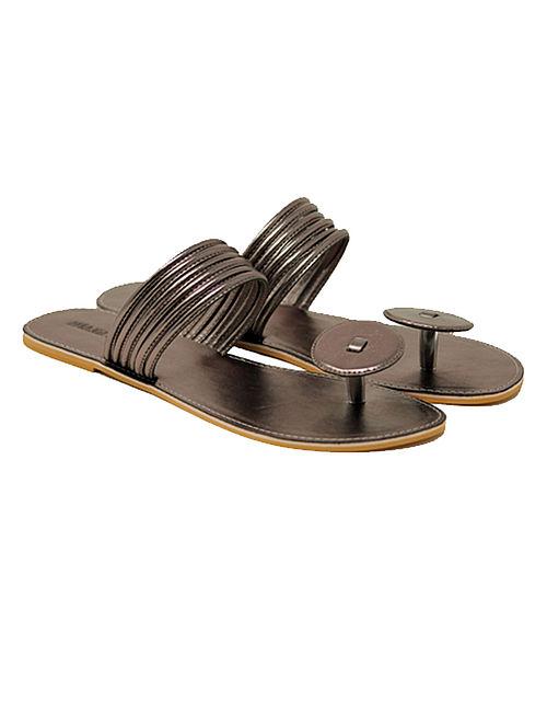 Gun Metal Handcrafted Flats