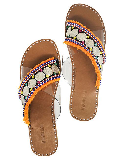 Orange Handcrafted Flats With Coins