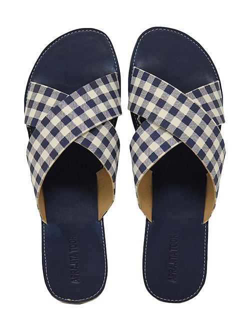 Blue-White Handcrafted Checkered Flats
