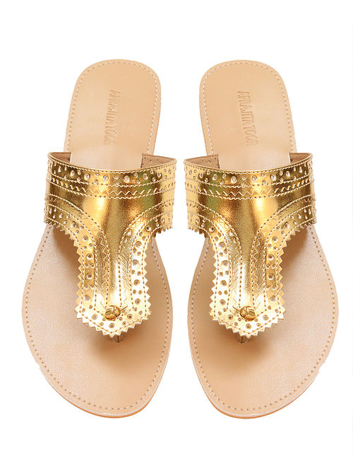 Gold-Beige Handcrafted Flats