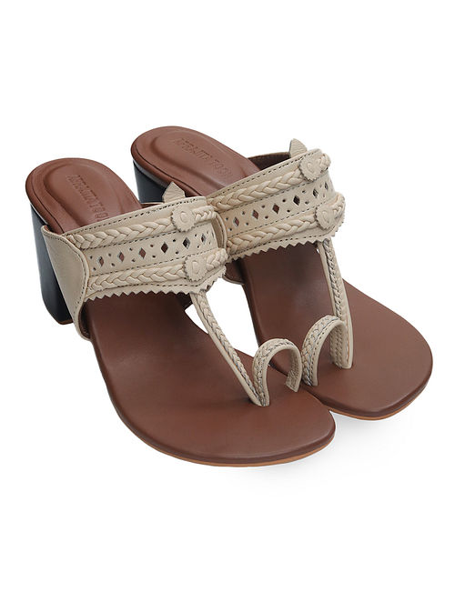 Beige-Brown Handcrafted Leather Block Heels