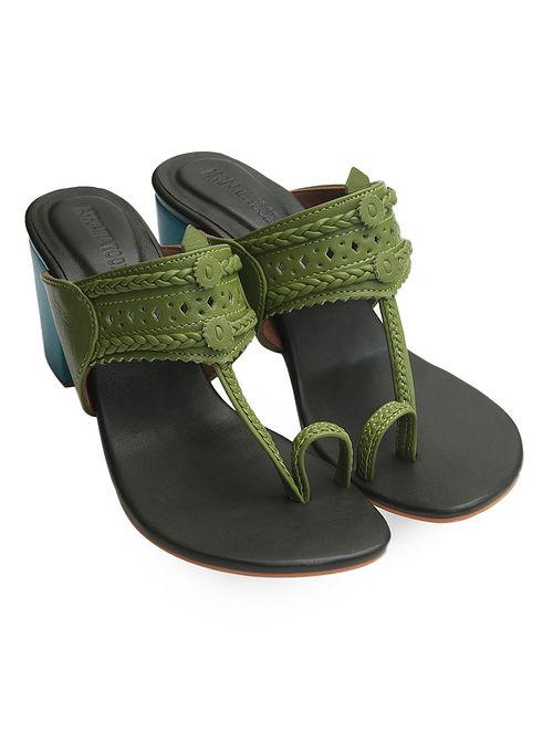 Green Handcrafted Leather Block Heels