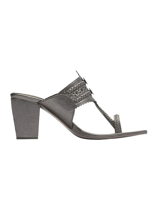 Gun Metal Handcrafted Block Heels