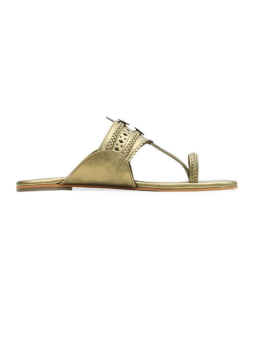 Dull Gold Handcrafted Flats