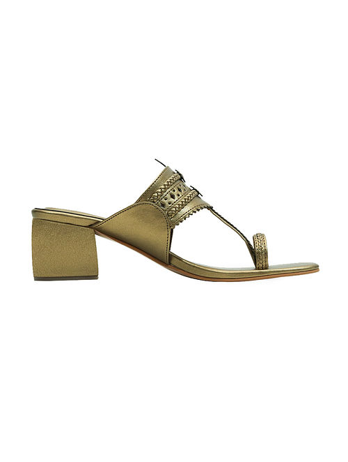 Dull Gold Handcrafted Box Heels