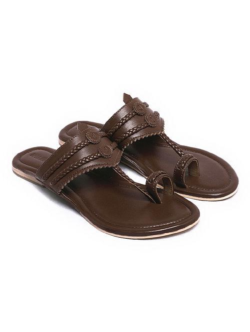 Dark Brown Handcrafted Leather Kolhapuri Flats