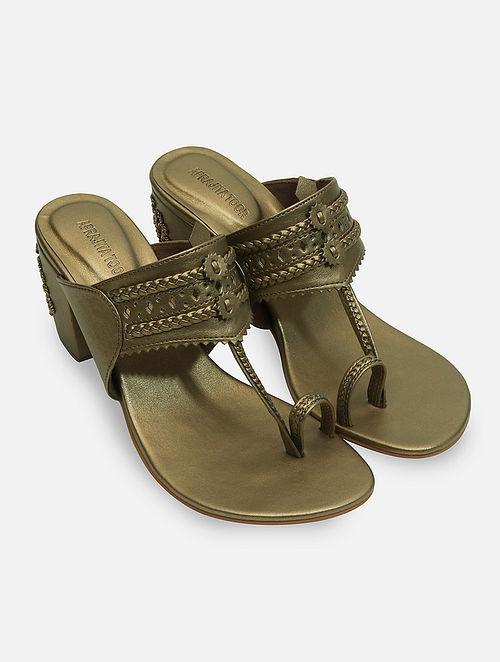 Dull Gold Handcrafted Kolhapuri Block Heels