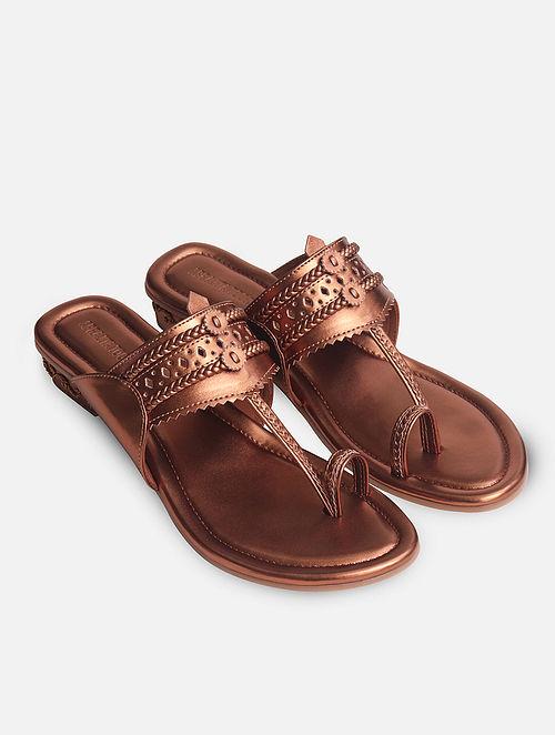 Copper Handcrafted Kolhapuri Box Heels