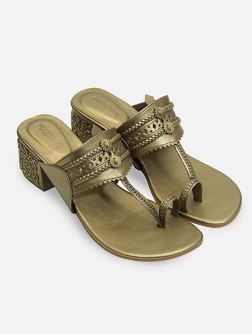 Dull Gold Handcrafted Kolhapuri Box Heels