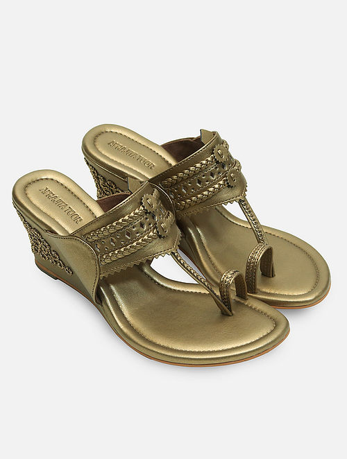 Dull Gold Handcrafted Kolhapuri Wedges