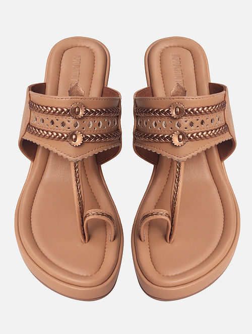 Nude Handcrafted Genuine Leather Wedges