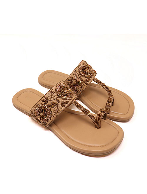 Nude Handcrafted Non Leather Kolhapuri Flats