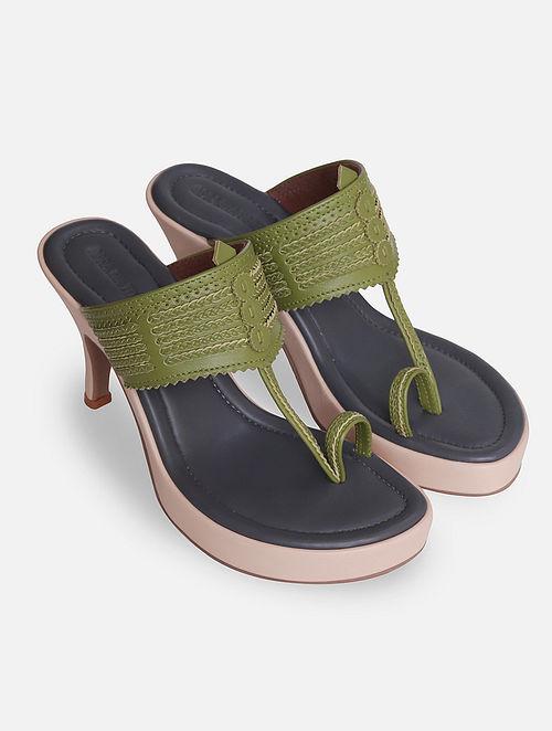 Green Handcrafted Leather Kolhapuri Heels