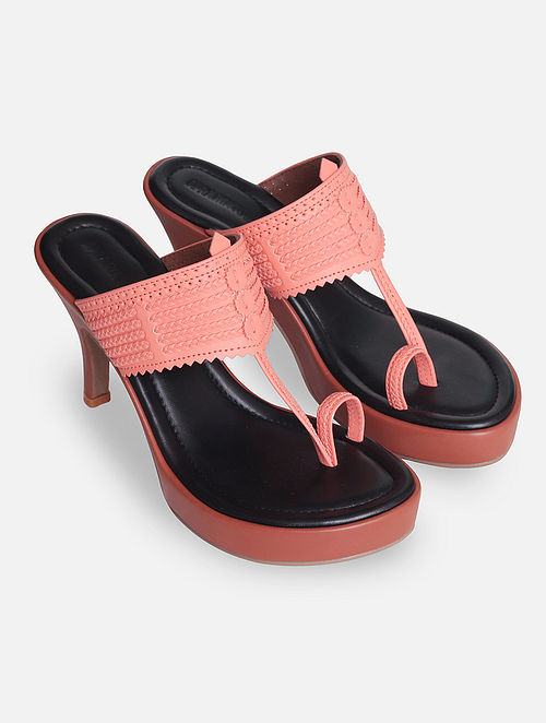 Pink Handcrafted Leather Kolhapuri Heels