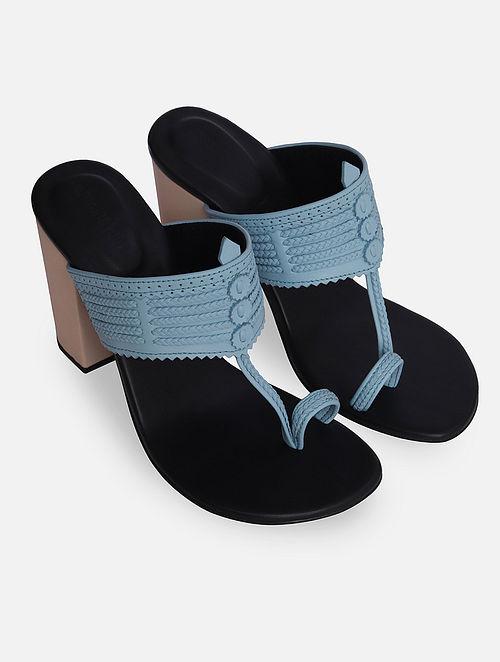 Blue Handcrafted Leather Kolhapuri Block Heels