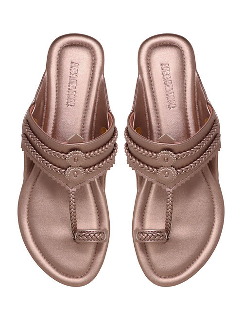 Rose Gold Handcrafted Non Leather Kolhapuri Flats