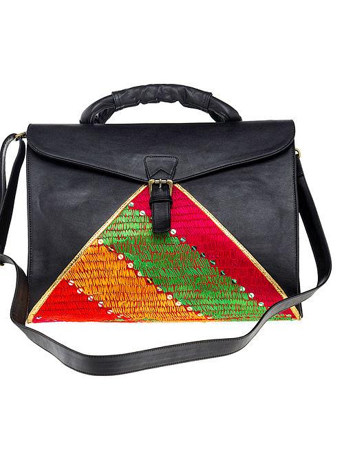Black Phulkari Silk Threadwork Sling Bag