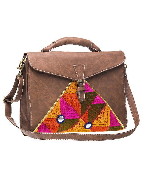 Brown Phulkari Silk Threadwork Sling Bag