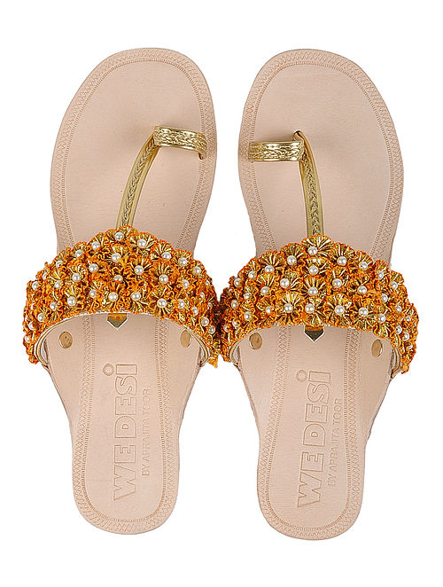 Cream-Golden Leather Flats with Gota Work and Pearls