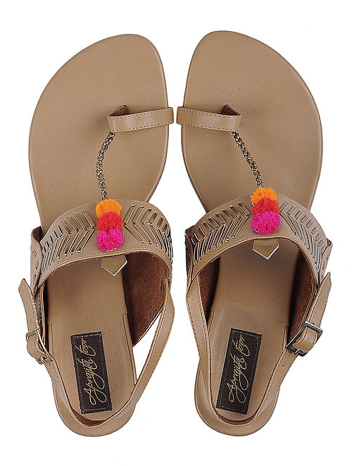 Brown Leather Sandals with Pom Poms