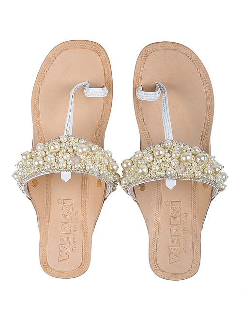 Cream-White Leather Flats with Pearls and Beads