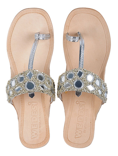 Cream-Silver Leather Flats with Gota and Mirror Work