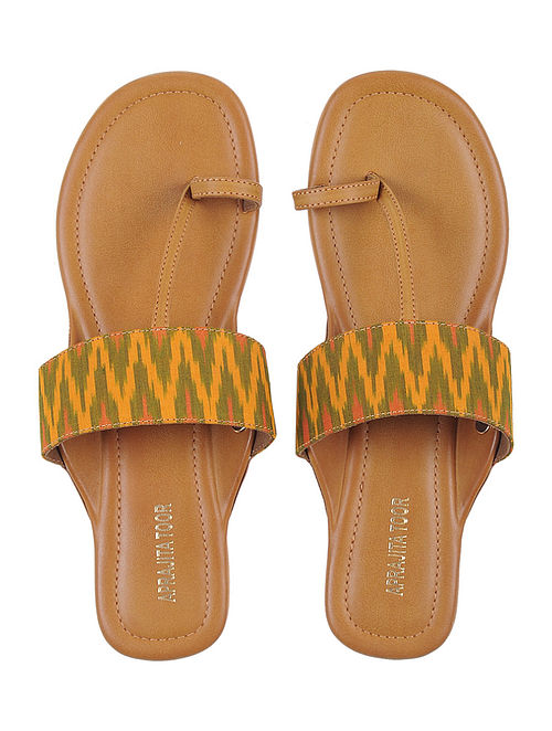 Tan-Yellow Ikat Cotton Handcrafted Kolhapuri Flats
