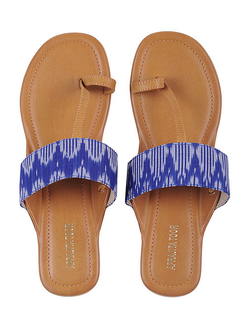 Tan-Blue Ikat Cotton Handcrafted Kolhapuri Flats