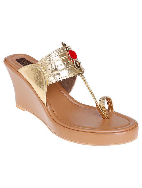 Gold-Beige Handcrafted Sandals