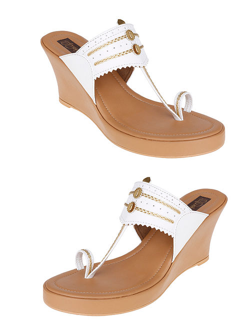 White-Beige Handcrafted Sandals