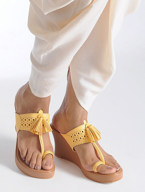Yellow-Beige Handcrafted Sandals with Tassel