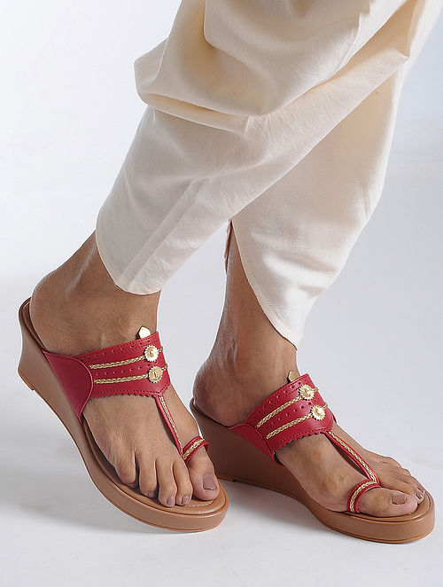 2cd2973498bd9 Buy Red-Beige Handcrafted Kolhapuri Sandals Online at Jaypore.com