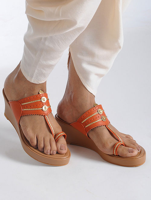 Orange-Beige Handcrafted Kolhapuri Sandals