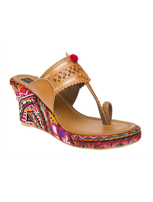 Tan Kutch-embroidered Handcrafted Sandals