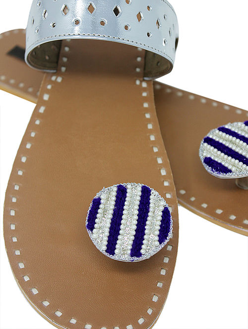 0605ece1a1a951 Buy Silver-Beige Paduka Flats Embellished with Beads Sandals   Slip ...