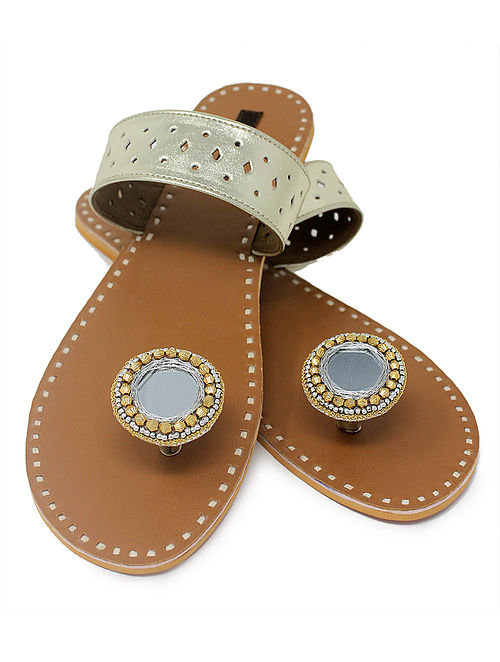 Champagne-Beige Paduka Flats Embellished with Mirror and Beads