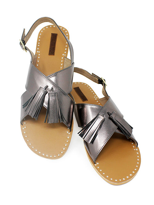 Grey-Beige Handcrafted Sandals with Tassels