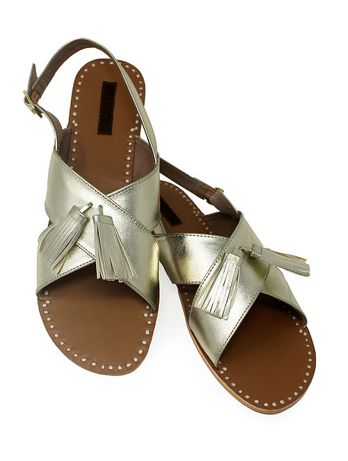 Champagne-Beige Handcrafted Sandals with Tassels