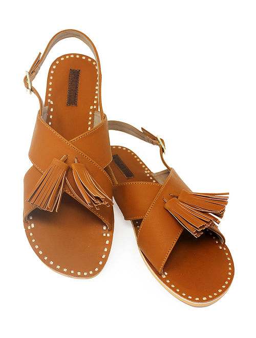 Tan Handcrafted Sandals with Tassels