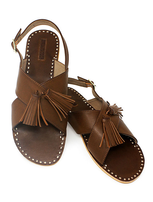 Brown Handcrafted Sandals with Tassels
