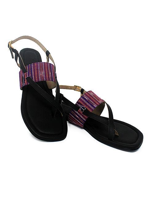 Black-Purple Handcrafted Ikat Cotton Flats