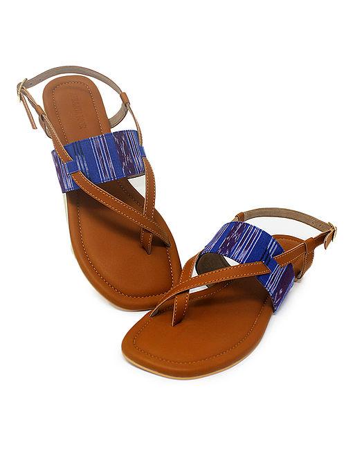 Tan-Blue Hancrafted Ikat Cotton Flats